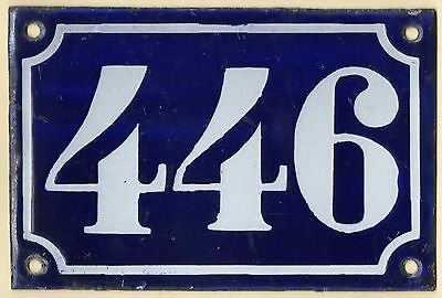 Old blue French house number 446 door gate plate plaque enamel metal sign c1900