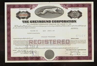 The Greyhound Corporation old bond certificate dd 1975