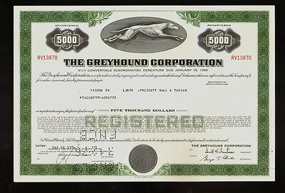The Greyhound Corporation old bond certificate dd 1976
