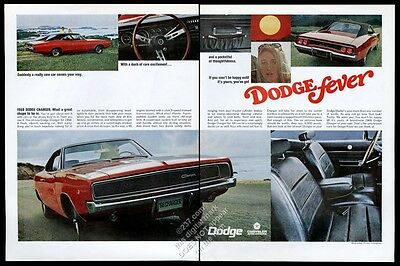 1968 Dodge Charger red car 8 color photo vintage print ad