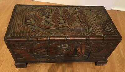 Antique Chinese Hand Carved Wooden Camphor Chest Heavy Elaborate Ships Temples