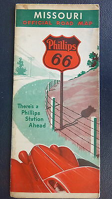 1937 Missouri  road map Phillips 66 oil gas route 66