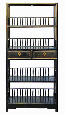 Chinese Distressed Black 4 Shelves Bookcase Display Cabinet cs1942