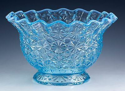 Vintage LE Smith Blue Opalescent Daisy & Button Crimped Glass Bowl Skirted Base