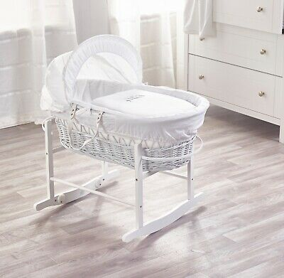 Sleepy Little Owl White Wicker Moses Basket and White Rocking Stand