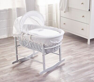 Sleepy Little Owl White Wicker Moses Basket and Dove Grey Rocking Stand