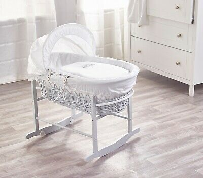 Sleepy Little Owl White Wicker Moses Basket on Deluxe Rocking Dove Grey Stand