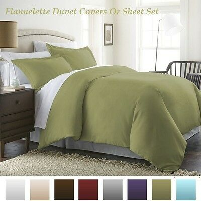 Flannelette Brushed 100% Cotton Warm & Cosy Duvet Cover+PillowCase Or Sheet Set