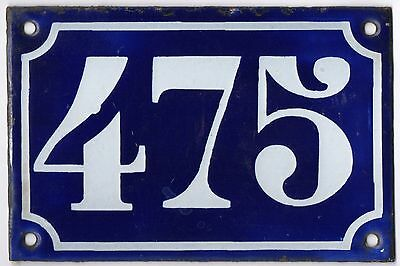 Old blue French house number 475 door gate plate plaque enamel metal sign c1900