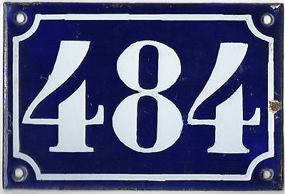 Old blue French house number 484 door gate plate plaque enamel metal sign c1900