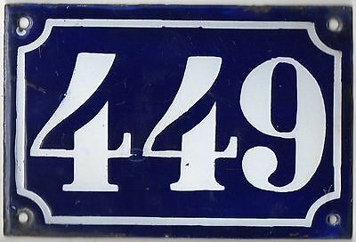 Old blue French house number 449 door gate plate plaque enamel metal sign c1900