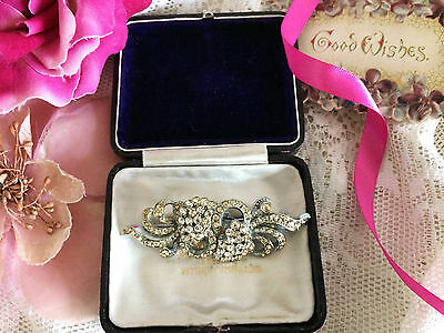 Antique Vintage Art Deco Diamond Paste Pave Duette Dress Clips Brooch. Gift Box