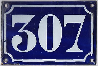 Old blue French house number 307 door gate plate plaque enamel metal sign c1900