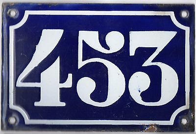 Old blue French house number 453 door gate plate plaque enamel metal sign c1900