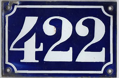 Old blue French house number 422 door gate plate plaque enamel metal sign c1900