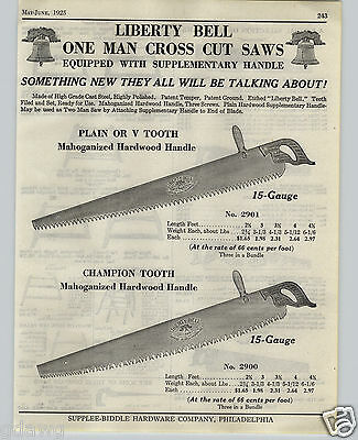1925 PAPER AD Liberty Bell Supplee Biddle 1 One Man Saw Royal Blue Buck Wood
