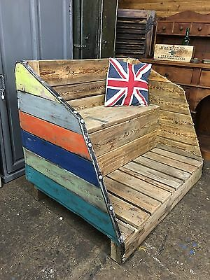Upcycled Rustic Vintage Industrial Garden Seat Storage Shipping Crate Unit Wood