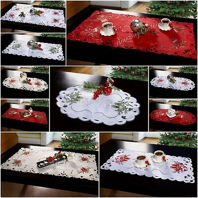 New Christmas Tablecloths Table Runners Embroidered Oval Round Xmas Decorations