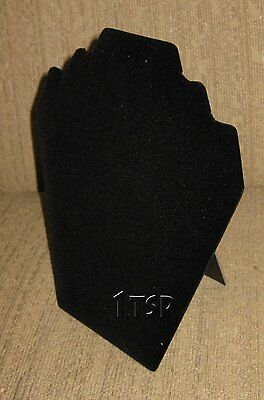 Black Velvet Necklace and Earring Bust Easel Display Stand