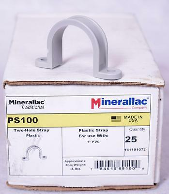 "* NEW * 25 Ct Minerallac PS100 1"" Inch Two Hole Strap 141101072  FREE SHIPPING"