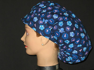 Surgical Scrub Hats/Caps Breast Cancer Awareness Blue w/ Ribbons and Owls