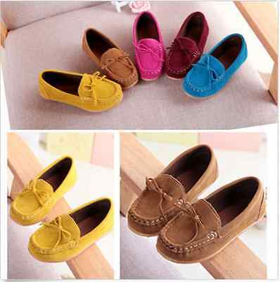 Boys Girls Child Kids Loafers Ankle Boots Shoes Flat Shallow Slip On Soft Shoes
