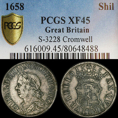 RARE OLIVER CROMWELL 1658 SILVER SHILLING PCGS GRADED  Extra Fine 45