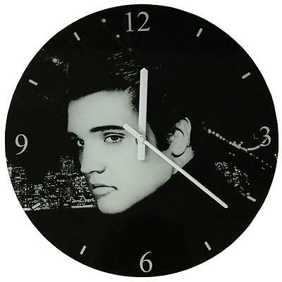 Icons Collection 30cm Glass Wall Clock Boxed - Elvis
