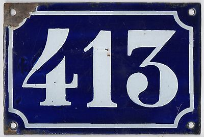 Old blue French house number 413 door gate plate plaque enamel metal sign c1900