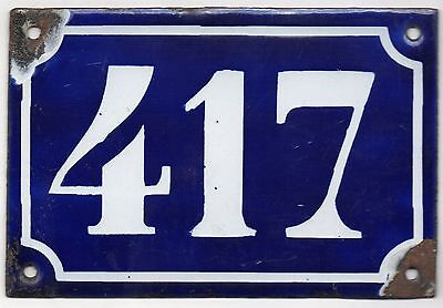 Old blue French house number 417 door gate plate plaque enamel metal sign c1900