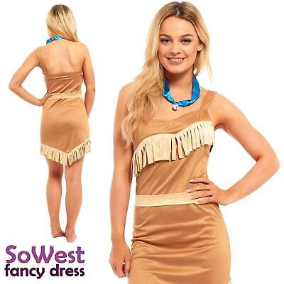 LADIES SEXY POCAHONTAS INDIAN PRINCESS HALLOWEEN FANCY DRESS COSTUME all sizes