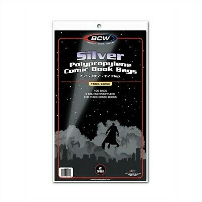 Pack of 100 BCW Silver Thick Comic Book Acid Free Archival Poly Bags 7.25 x 10.5