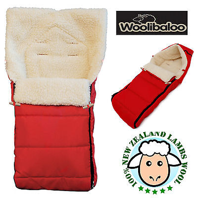 Woolibaloo Red 100% New Zealand Lambswool Pushchair Footmuff Cosytoes