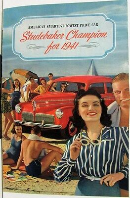 1941 Studebaker Champion Sedan & Coupe Color Sales Brochure Original