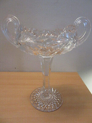 Antique American Brilliant Cut glass tall footed double handle compote bowl 11""