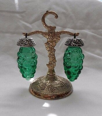 Vintage Figural Green Glass Grapes Cluster Salt & Pepper Shakers & Metal Stand