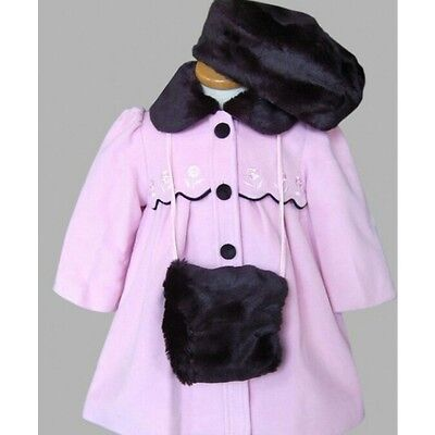 NEW AW2016 Jingles Girls Pink/ black Winter Coat,hat & hand warmer 24 MONTH