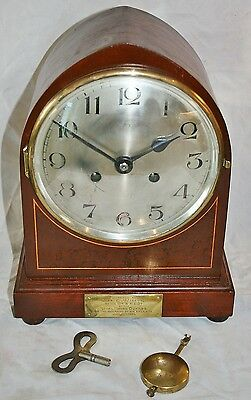 Vintage Art Deco Mantle Clock (KIENZLE) ROYAL HORSE GUARDS Marriage Present 1924