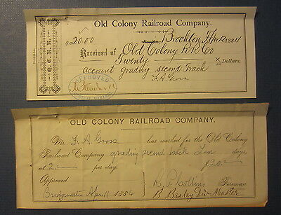 2 Old 1884 OLD COLONY RAILROAD Co. - Receipt Check Documents - Brockton MASS.