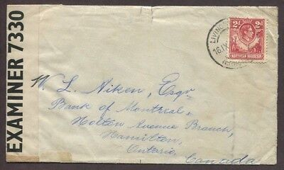Northern Rhodesia 1942 Censored Airmail Cover Livingstone To Hamilton Canada
