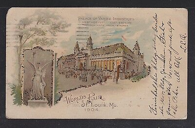 Usa 1904 St Louis World's Fair Postcard Palace Of Varied Industries Used