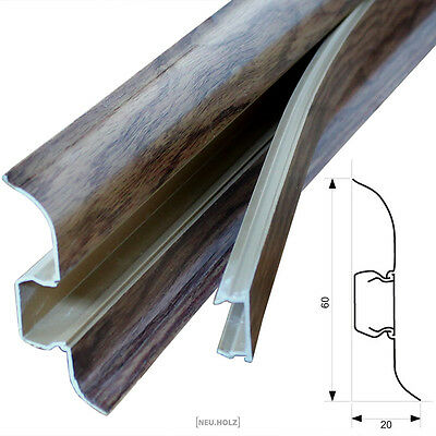 12x 2,5m Skirting boards Oak 60mm Base Panel Cable Channel Socket Laminate PVC