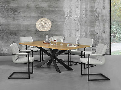 [en.casa] Dining Table Oak Natural with 6 Chairs 200x100 Ivory White