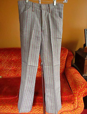 NEW NWOT 30x30 True Vtg 60's Mens Pinstripe Red/Gold/Blue Mod Trousers pants