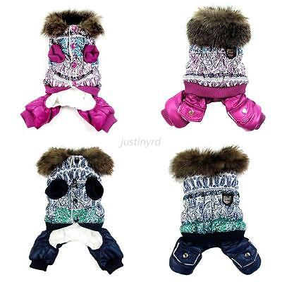 Pet Dogs Thick Warm Jacket Winter Cat Puppy Coat Hooded Jumpsuit Clothes Costume