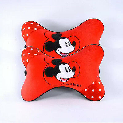 NEW Disney Mickey Mouse Car Headrest Pillow Cushion Pair Red