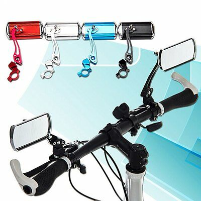 1 Pair Bicycle Bike Cycling Handlebar Rear View Rearview Mirror Rectangle Back