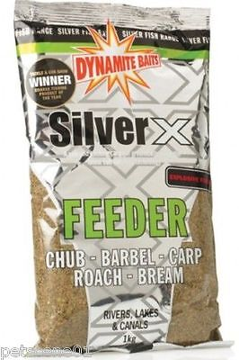DYNAMITE BAITS SILVER X EXPLOSIVE FEEDER 1KG GROUNDBAIT CANALS LAKES RIVER sx520