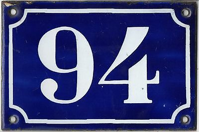 Old blue French house number 94 door gate plate plaque enamel metal sign c1900