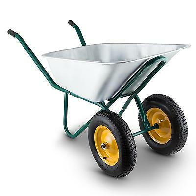 Waldeck 2 Wheel Wheelbarrow Hand Cart Steel Heavy Duty Trasnsport 120L Max 320Kg